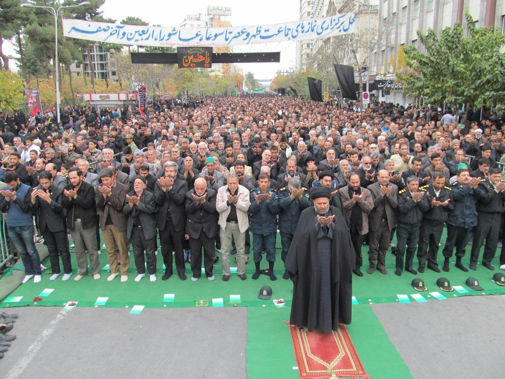 Noon prayer in congregation on day of Ashura in Iran