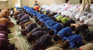 the students on praying